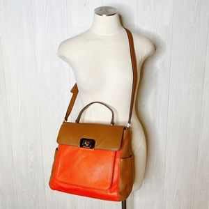 Michael Kors | Red and Brown Color Block Satchel